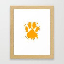 Orange Dog Paw Print With Paint Splatter Effect Framed Art Print