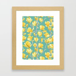 Yellow Magnolia Spring Bloom Framed Art Print