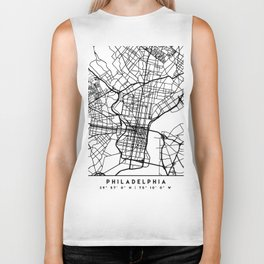 PHILADELPHIA PENNSYLVANIA BLACK CITY STREET MAP ART Biker Tank