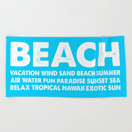 BEACH-white Typography on Aqua for your summer - Mix & Match Beach Towel