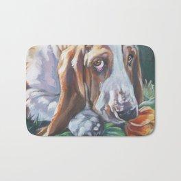 Beautiful Basset Hound dog portrait art an original painting by L.A.Shepard Bath Mat