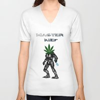 master chief V-neck T-shirts featuring Master Kief (Chief) by ThingsStonersLove