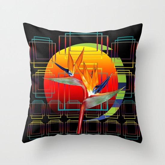 Bird of Paradise flower by sunset Throw Pillow