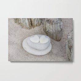 Stone Hearts At The Beach Metal Print