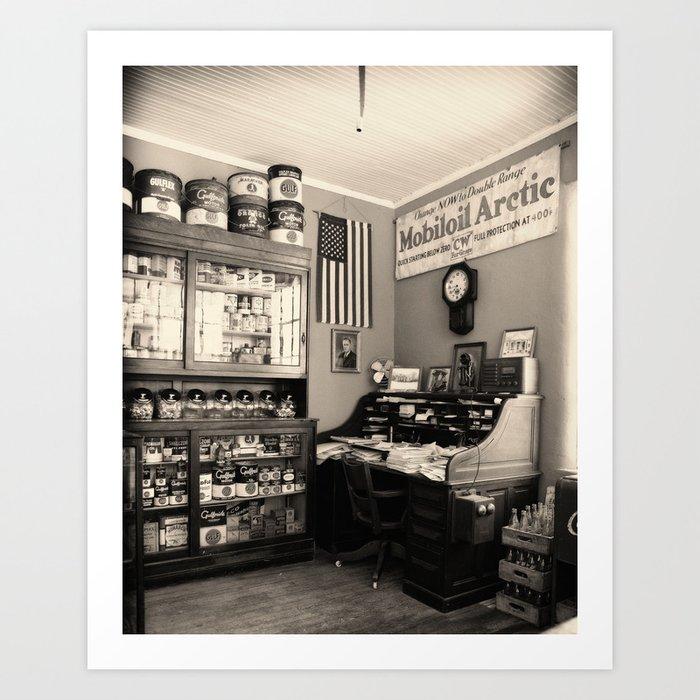 Circa 1930 depression era garage office art print by for Garage prints