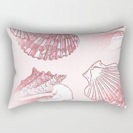 Seashells Coastal Nautical Pattern Pink Rectangular Pillow