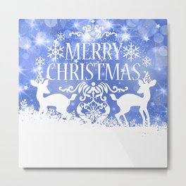 Merry Christmas Reindeers Blue Holiday Festive Metal Print