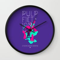 pulp fiction Wall Clocks featuring Pulp Fiction by RJ Artworks