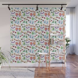 Funny insects falling in love posing for a pattern design Wall Mural