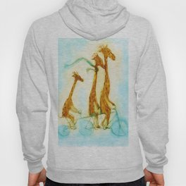 Family of giraffes rides a bicycle-tandem Hoody