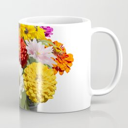 Variety of colorful flowers in a flower pot isolated on white Coffee Mug