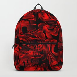 Smooth weaves of mysterious infinity of red lines and a dark square cycle. Backpack