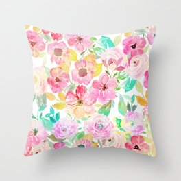 Classy watercolor hand paint floral design Throw Pillow