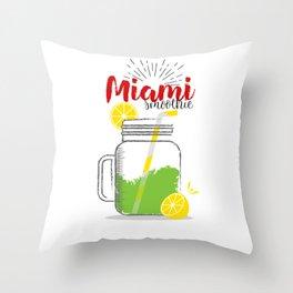 Miami: Summer, sun, sea & smoothies Throw Pillow