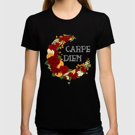 Crescent Bloom   Red roses and oranges T-shirt