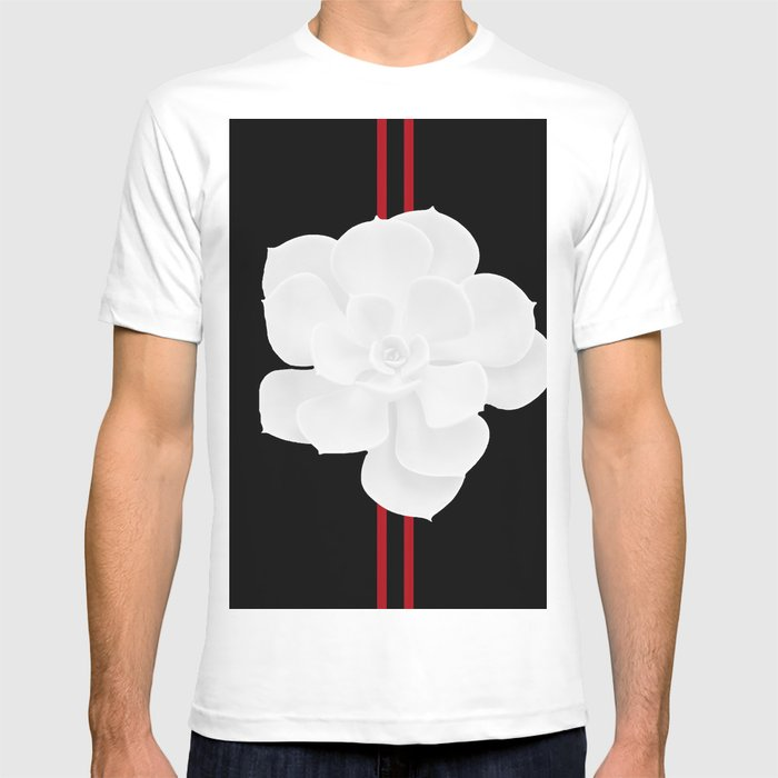 White Succulent On Black #decor #society6 #buyart T-shirt