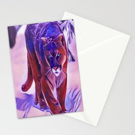 Mountain Lion Hunting in The Snow Stationery Cards