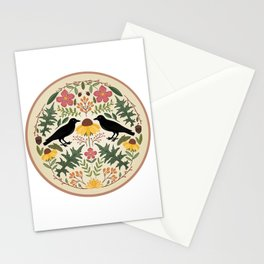 Crows, Wild Roses, Thistles And Sunflowers Stationery Cards
