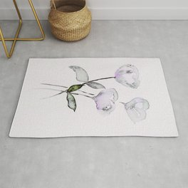 Madelyn's Favorite - Black Floral with Purple & Green Accents - Watercolor Art Rug