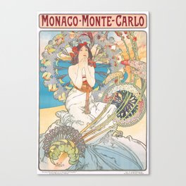 1897 Alphonse Mucha Monaco Monte-Carlo Poster Canvas Print