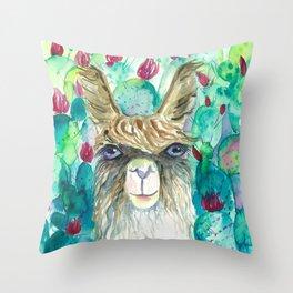 Llama in cacti Throw Pillow
