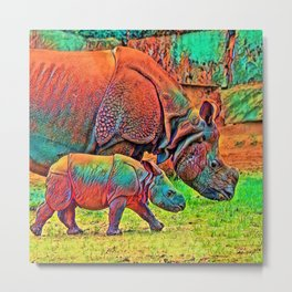 AnimalColor_Rhino_002 Metal Print