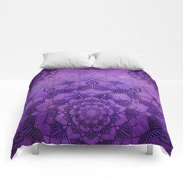 Purple Mandalas Spiritual Zen Bohemian Hippie Yoga Mantra Meditation Comforters