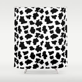 Spotted Moo Cow Dutch Holstein Animal Spots in Black and White Shower Curtain