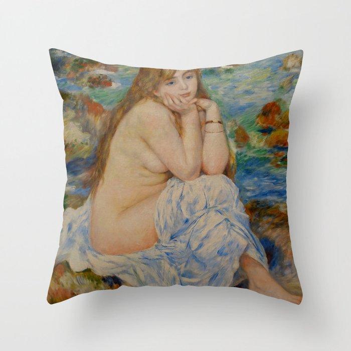 """Auguste Renoir """"Seated bather"""" Throw Pillow"""