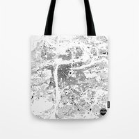 prague Tote Bags featuring PRAGUE by Maps Factory