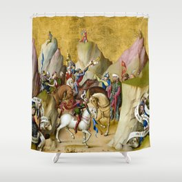 Master of the St. Bartholomew Altarpiece The Meeting of the Three Kings with David and Isaiah Shower Curtain