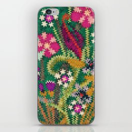 Starry Floral Felted Wool, Green iPhone Skin