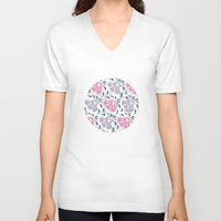 flora V-neck T-shirts featuring Flora by Shelly Bremmer