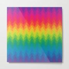neon rainbow feather chevron  Metal Print