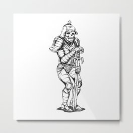 knight skeleton - warrior illustration - skull black and white Metal Print