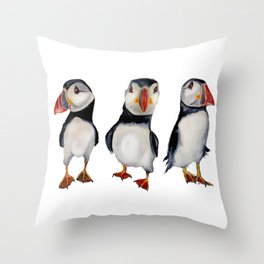 Puffins in september Throw Pillow