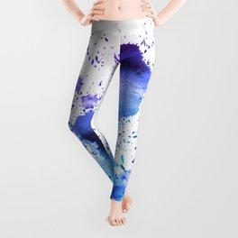 Dark Blue and Aqua Watercolor Paint Splatter on White Leggings