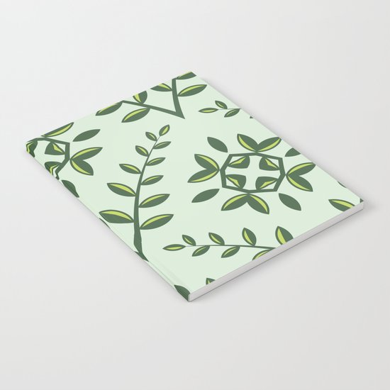 Green Olive Branch Pattern Notebook