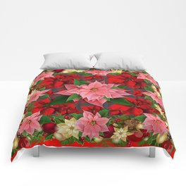 DECORATIVE  RED & PINK POINSETTIAS CHRISTMAS ART Comforters