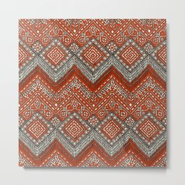 beaded chevron paprika Metal Print