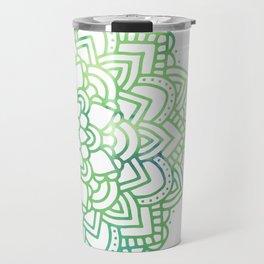 Elegant chic green white watercolor mandala pattern Travel Mug