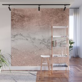 Modern faux rose gold glitter and foil ombre gradient on white marble color block Wall Mural