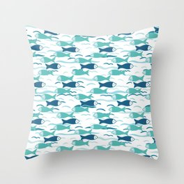 Cute shoal of fish swimming in sea water. Throw Pillow