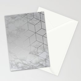 Silver Platinum Geometric White Mable Cubes Stationery Cards