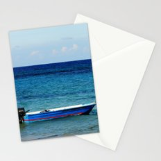 Blue boat red stripe in ocean water color photography Stationery Cards