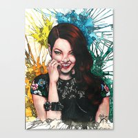 emma stone Canvas Prints featuring Emma Stone by catscratchproject