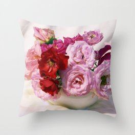 Red pink roses wedding bouquet - floral photogrpaphy Throw Pillow