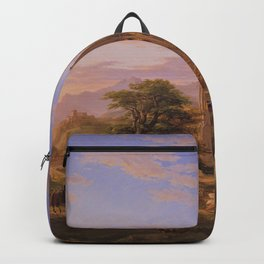 The Return Home medieval forest cathedral landscape painting by Thomas Cole Backpack