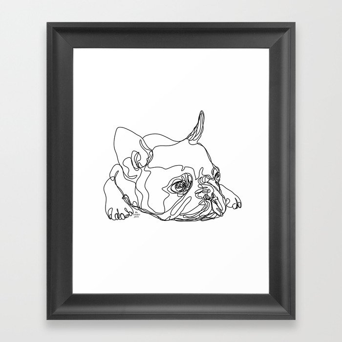 French Bulldog Puppy One Line Drawing Framed Art Print