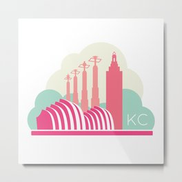 Kansas City in the Clouds - Pink Metal Print
